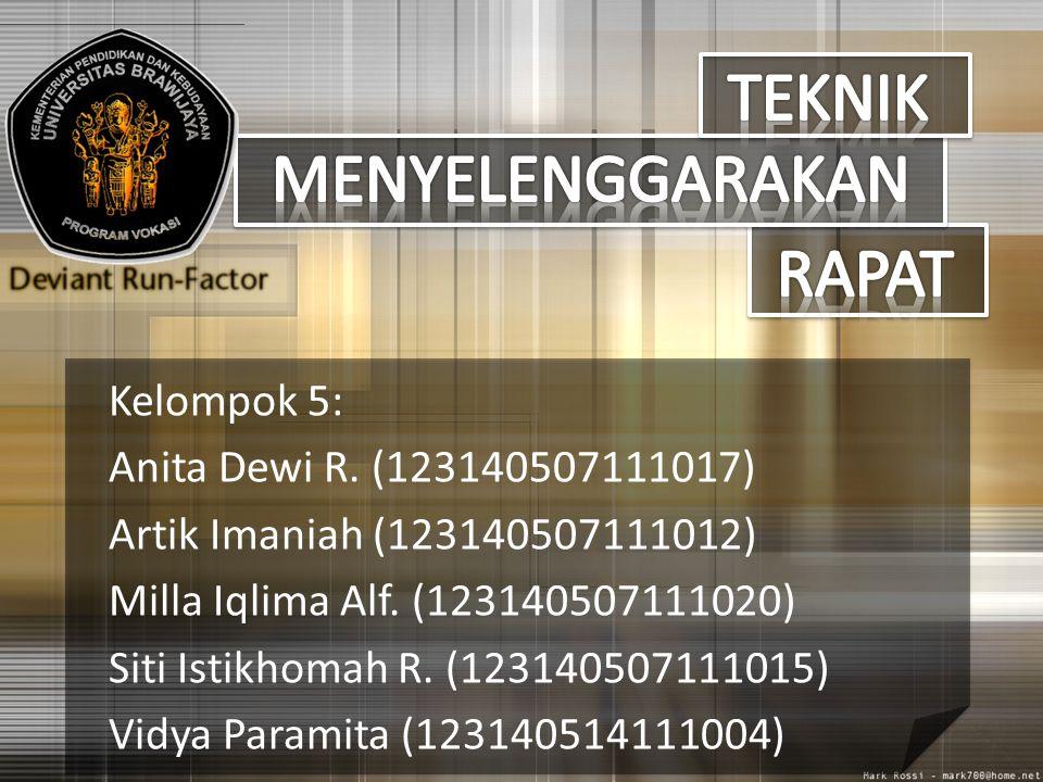 Kelompok 5: Anita Dewi R. (123140507111017) Artik Imaniah (123140507111012) Milla Iqlima Alf. (123140507111020) Siti Istikhomah R. (123140507111015) V