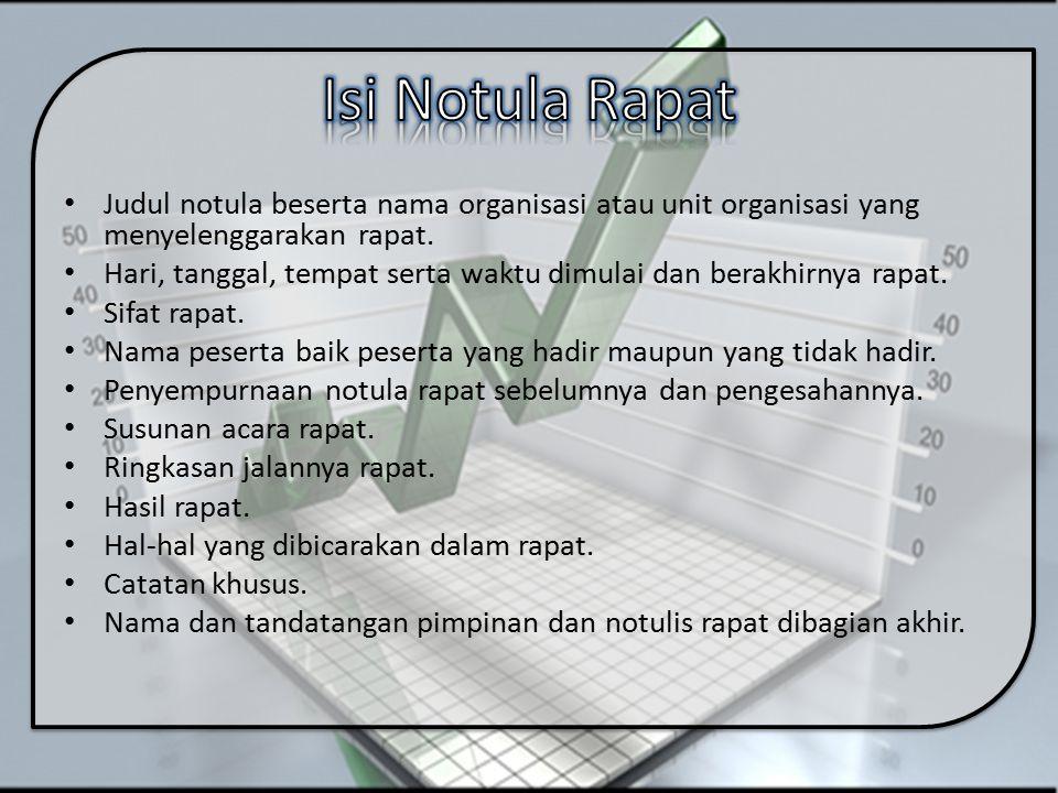 Judul notula beserta nama organisasi atau unit organisasi yang menyelenggarakan rapat. Hari, tanggal, tempat serta waktu dimulai dan berakhirnya rapat
