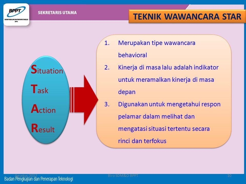 Agustus 2012Biro SDM&O BPPT10 TEKNIK WAWANCARA STAR S ituation T ask A ction R esult 1.Merupakan tipe wawancara behavioral 2.Kinerja di masa lalu adal
