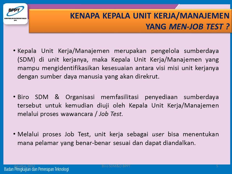 Agustus 2012Biro SDM&O BPPT5 Kepala Unit Kerja/Manajemen merupakan pengelola sumberdaya (SDM) di unit kerjanya, maka Kepala Unit Kerja/Manajemen yang