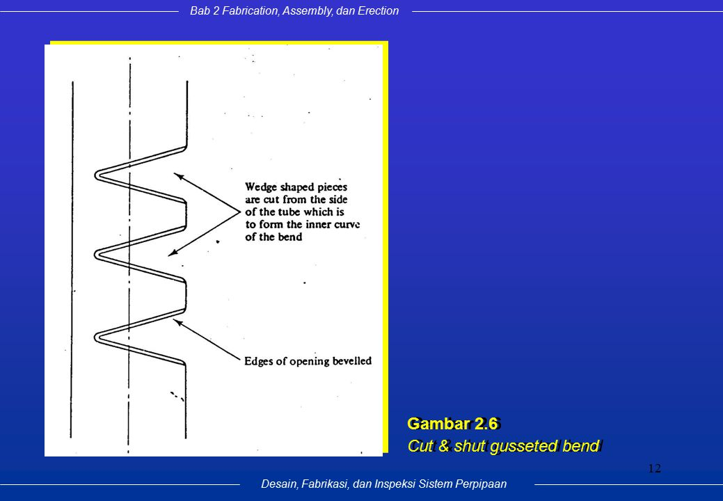 Bab 2 Fabrication, Assembly, dan Erection Desain, Fabrikasi, dan Inspeksi Sistem Perpipaan 12 Gambar 2.6 Cut & shut gusseted bend Gambar 2.6 Cut & shu