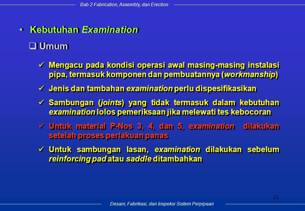 Bab 2 Fabrication, Assembly, dan Erection Desain, Fabrikasi, dan Inspeksi Sistem Perpipaan 21 Kebutuhan Examination Mengacu pada kondisi operasi awal