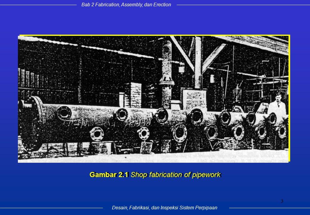 Bab 2 Fabrication, Assembly, dan Erection Desain, Fabrikasi, dan Inspeksi Sistem Perpipaan 3 Gambar 2.1 Shop fabrication of pipework
