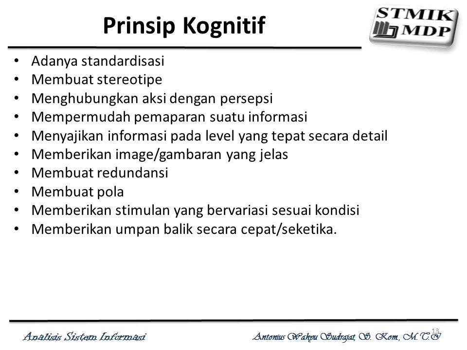 Analisis Sistem Informasi Antonius Wahyu Sudrajat, S. Kom., M.T.I 13 Prinsip Kognitif Adanya standardisasi Membuat stereotipe Menghubungkan aksi denga