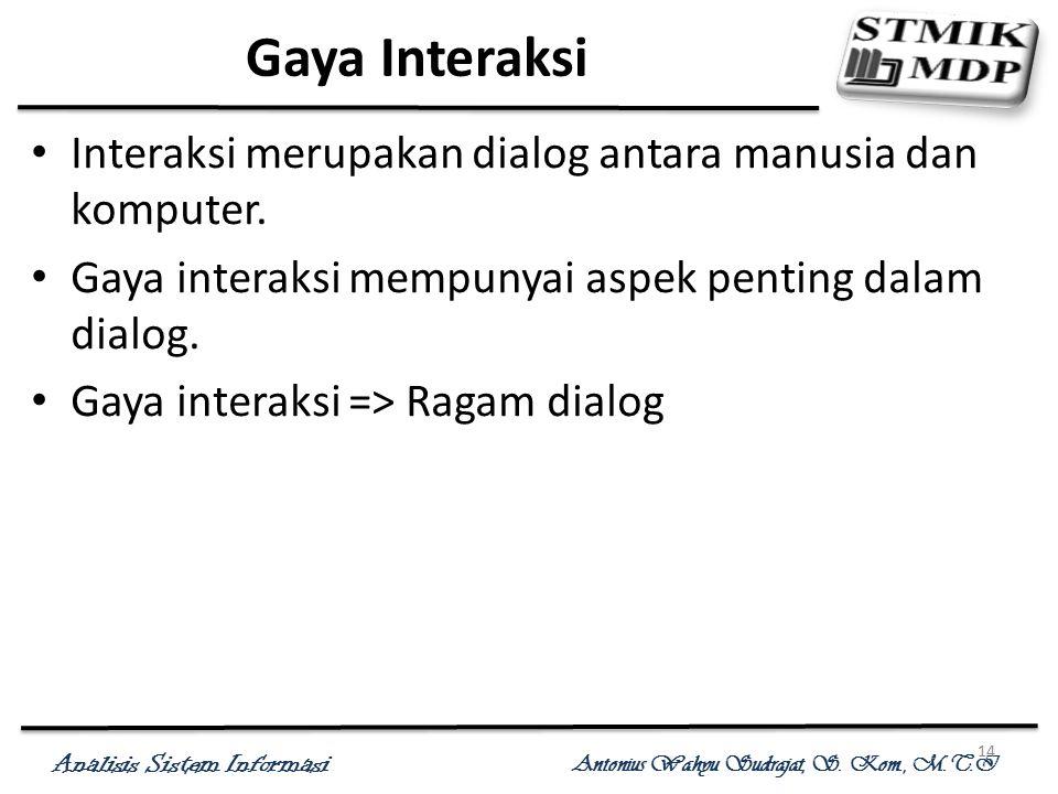 Analisis Sistem Informasi Antonius Wahyu Sudrajat, S. Kom., M.T.I 14 Gaya Interaksi Interaksi merupakan dialog antara manusia dan komputer. Gaya inter