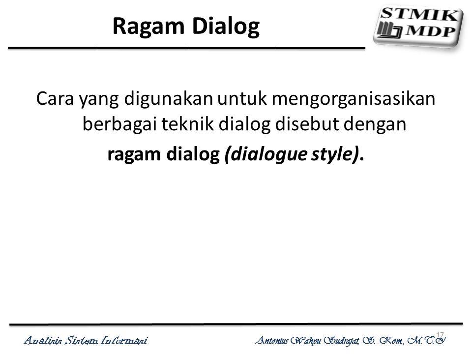 Analisis Sistem Informasi Antonius Wahyu Sudrajat, S. Kom., M.T.I 17 Ragam Dialog Cara yang digunakan untuk mengorganisasikan berbagai teknik dialog d