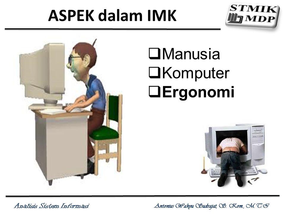 Analisis Sistem Informasi Antonius Wahyu Sudrajat, S. Kom., M.T.I ASPEK dalam IMK  Manusia  Komputer  Ergonomi