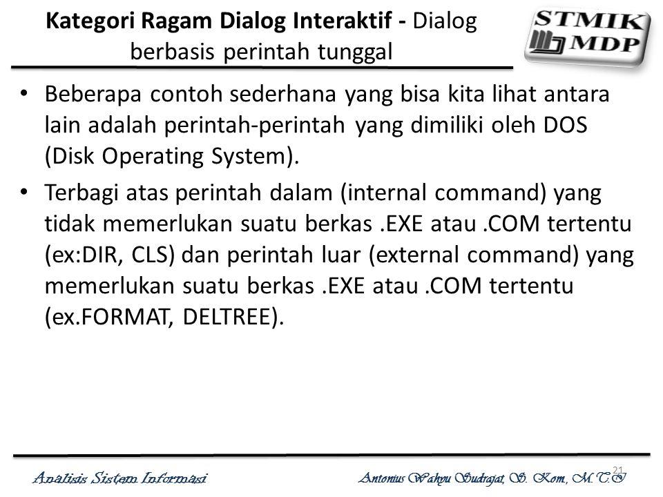 Analisis Sistem Informasi Antonius Wahyu Sudrajat, S. Kom., M.T.I 21 Kategori Ragam Dialog Interaktif - Dialog berbasis perintah tunggal Beberapa cont