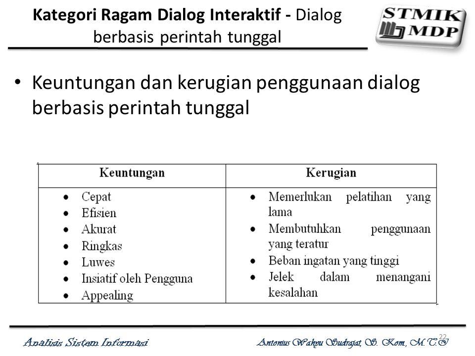 Analisis Sistem Informasi Antonius Wahyu Sudrajat, S. Kom., M.T.I 22 Kategori Ragam Dialog Interaktif - Dialog berbasis perintah tunggal Keuntungan da