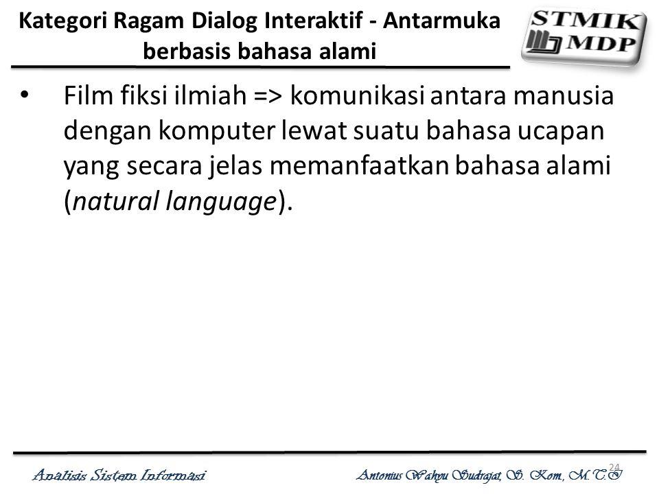 Analisis Sistem Informasi Antonius Wahyu Sudrajat, S. Kom., M.T.I 24 Kategori Ragam Dialog Interaktif - Antarmuka berbasis bahasa alami Film fiksi ilm