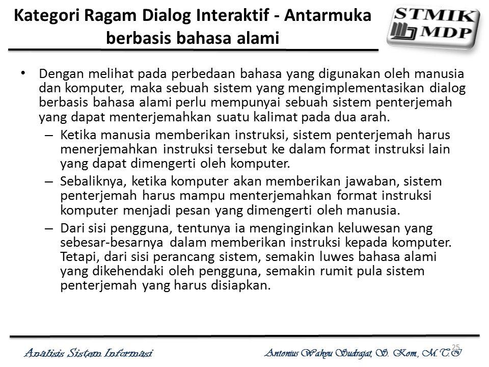 Analisis Sistem Informasi Antonius Wahyu Sudrajat, S. Kom., M.T.I 25 Kategori Ragam Dialog Interaktif - Antarmuka berbasis bahasa alami Dengan melihat