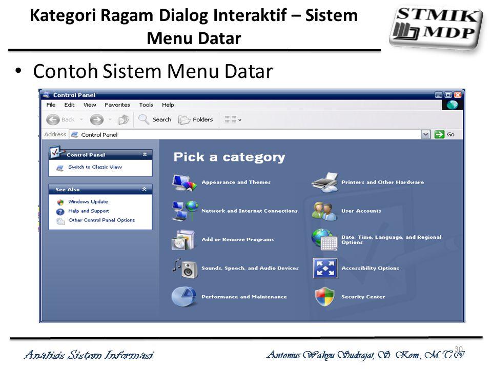 Analisis Sistem Informasi Antonius Wahyu Sudrajat, S. Kom., M.T.I 30 Kategori Ragam Dialog Interaktif – Sistem Menu Datar Contoh Sistem Menu Datar
