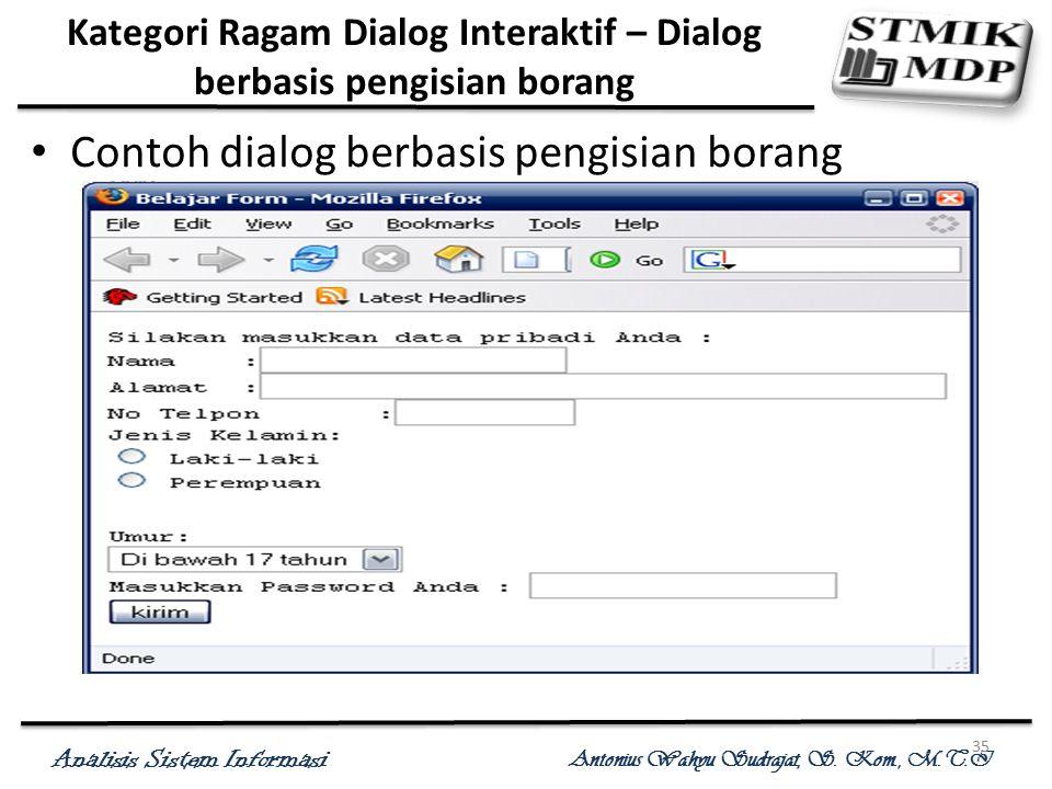 Analisis Sistem Informasi Antonius Wahyu Sudrajat, S. Kom., M.T.I 35 Kategori Ragam Dialog Interaktif – Dialog berbasis pengisian borang Contoh dialog