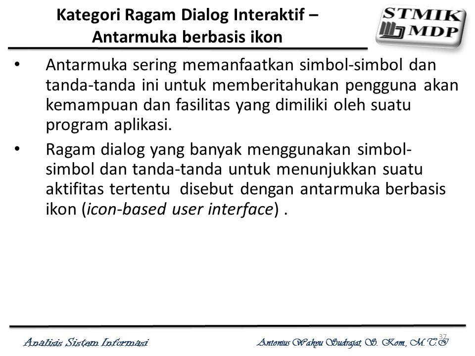 Analisis Sistem Informasi Antonius Wahyu Sudrajat, S. Kom., M.T.I 37 Kategori Ragam Dialog Interaktif – Antarmuka berbasis ikon Antarmuka sering meman