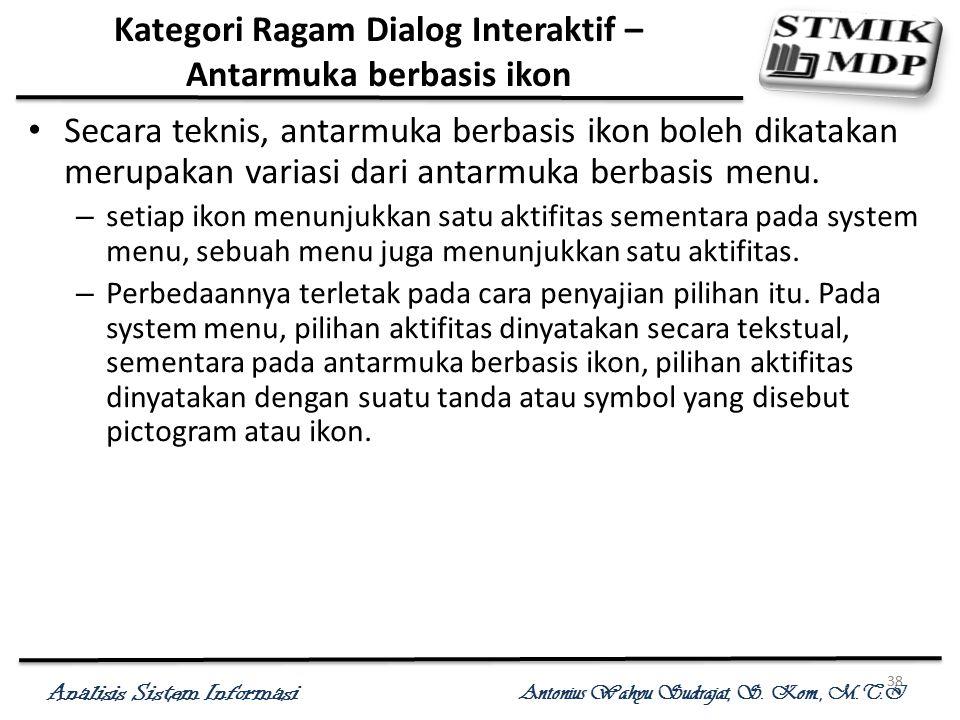 Analisis Sistem Informasi Antonius Wahyu Sudrajat, S. Kom., M.T.I 38 Kategori Ragam Dialog Interaktif – Antarmuka berbasis ikon Secara teknis, antarmu