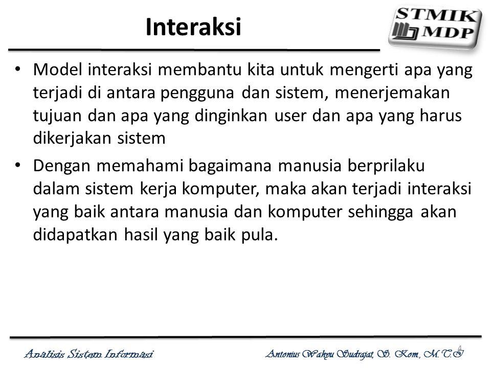 Analisis Sistem Informasi Antonius Wahyu Sudrajat, S. Kom., M.T.I 4 Interaksi Model interaksi membantu kita untuk mengerti apa yang terjadi di antara
