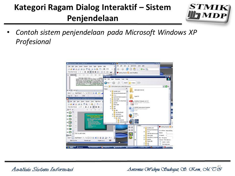 Analisis Sistem Informasi Antonius Wahyu Sudrajat, S. Kom., M.T.I 41 Kategori Ragam Dialog Interaktif – Sistem Penjendelaan Contoh sistem penjendelaan