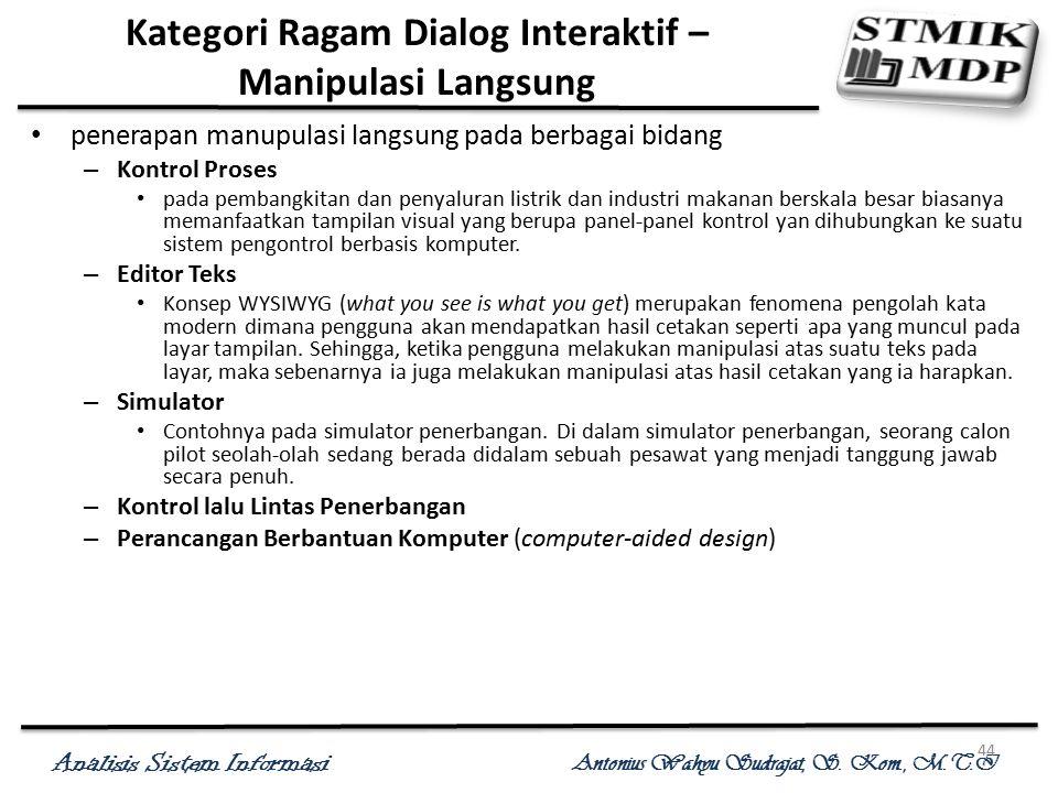Analisis Sistem Informasi Antonius Wahyu Sudrajat, S. Kom., M.T.I 44 Kategori Ragam Dialog Interaktif – Manipulasi Langsung penerapan manupulasi langs