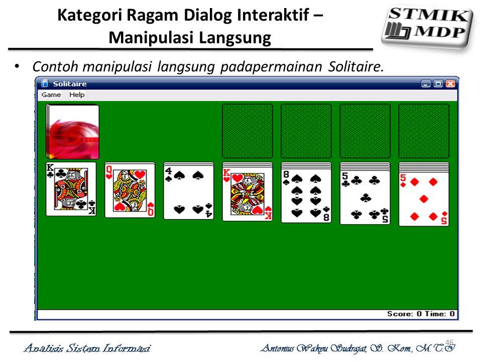 Analisis Sistem Informasi Antonius Wahyu Sudrajat, S. Kom., M.T.I 46 Kategori Ragam Dialog Interaktif – Manipulasi Langsung Contoh manipulasi langsung