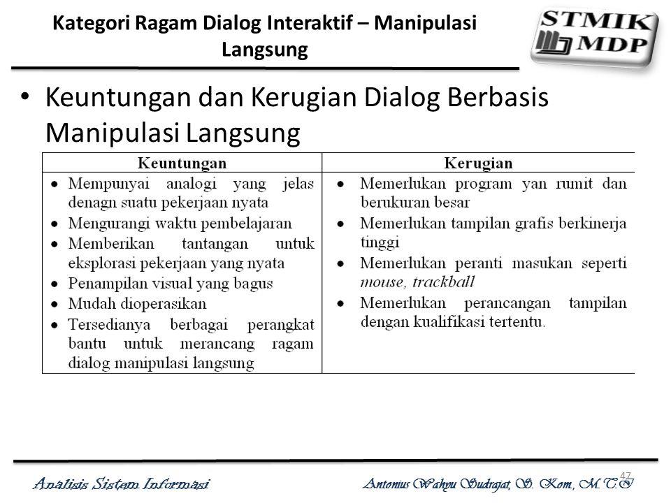 Analisis Sistem Informasi Antonius Wahyu Sudrajat, S. Kom., M.T.I 47 Kategori Ragam Dialog Interaktif – Manipulasi Langsung Keuntungan dan Kerugian Di