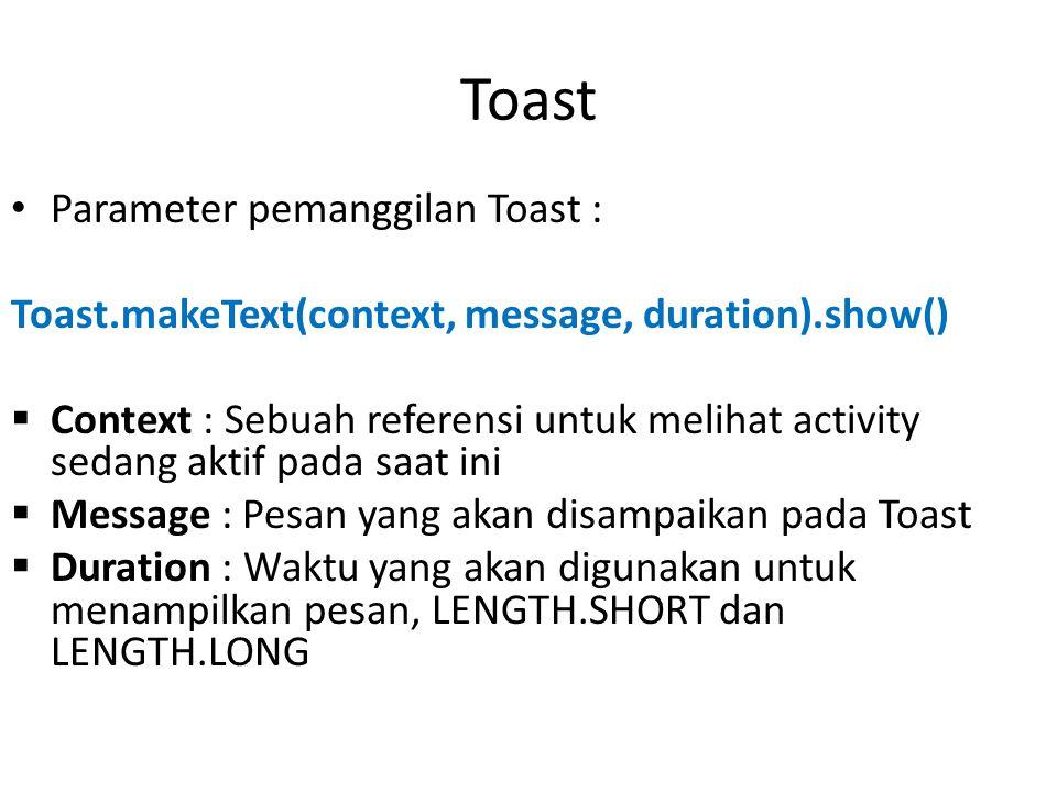 Toast Parameter pemanggilan Toast : Toast.makeText(context, message, duration).show()  Context : Sebuah referensi untuk melihat activity sedang aktif