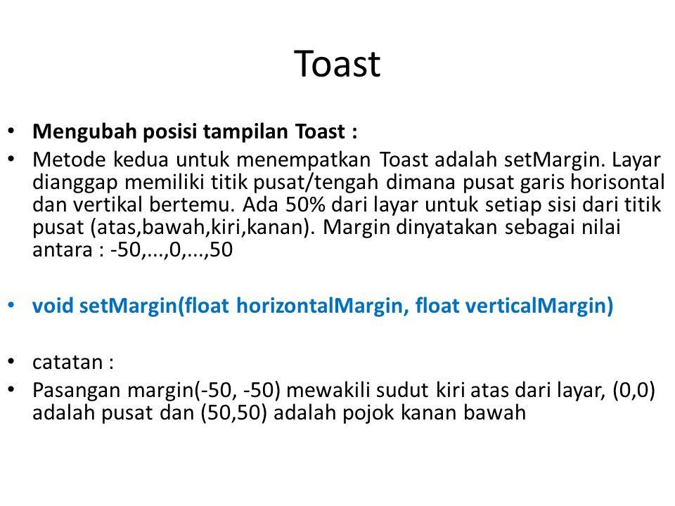 Toast Mengubah posisi tampilan Toast : Metode kedua untuk menempatkan Toast adalah setMargin. Layar dianggap memiliki titik pusat/tengah dimana pusat