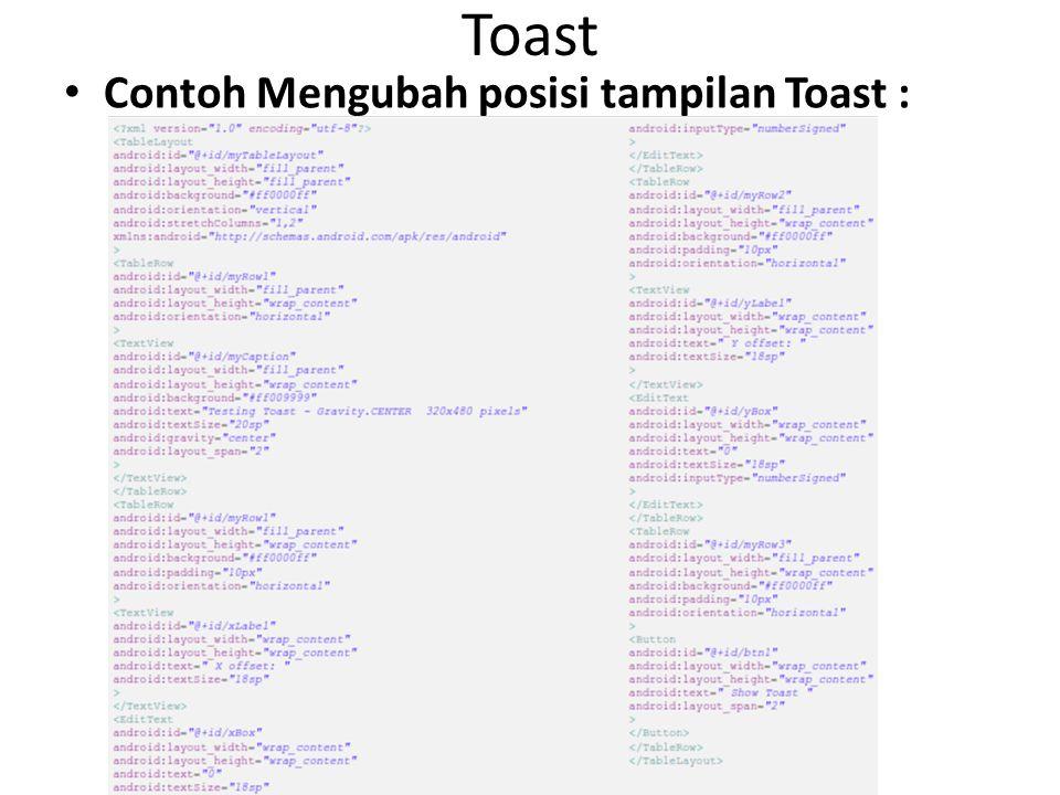 Toast Contoh Mengubah posisi tampilan Toast :