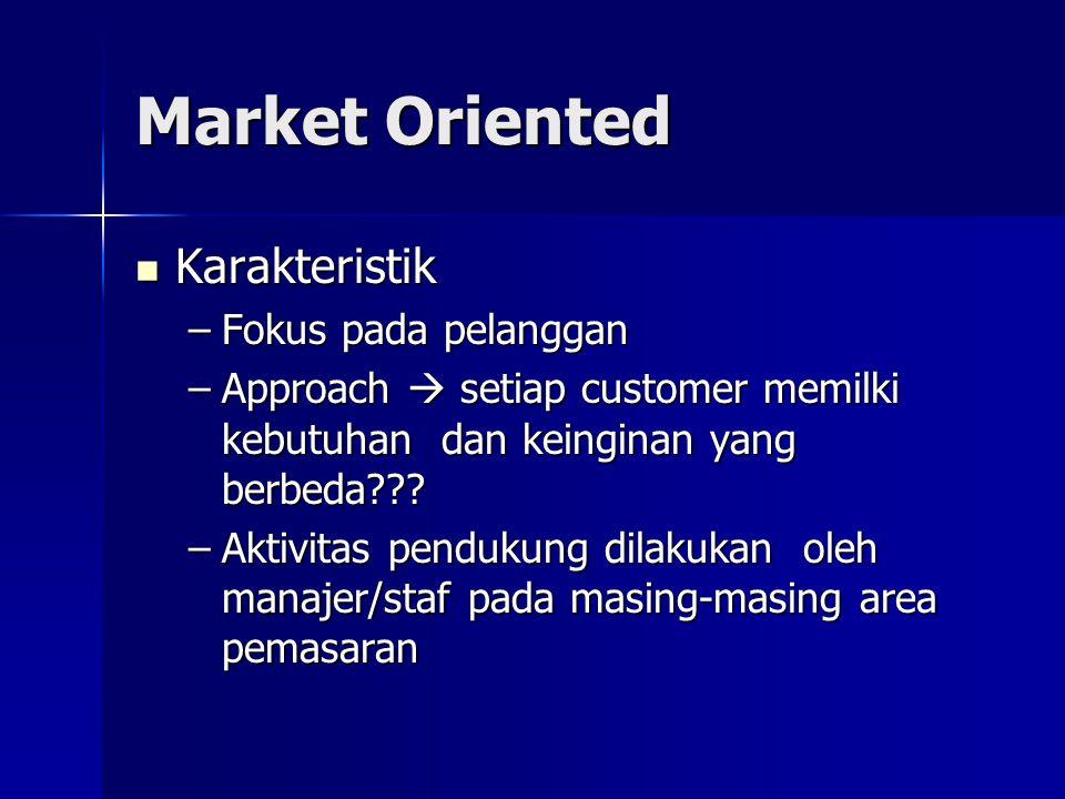 Market Oriented Karakteristik Karakteristik –Fokus pada pelanggan –Approach  setiap customer memilki kebutuhan dan keinginan yang berbeda??.