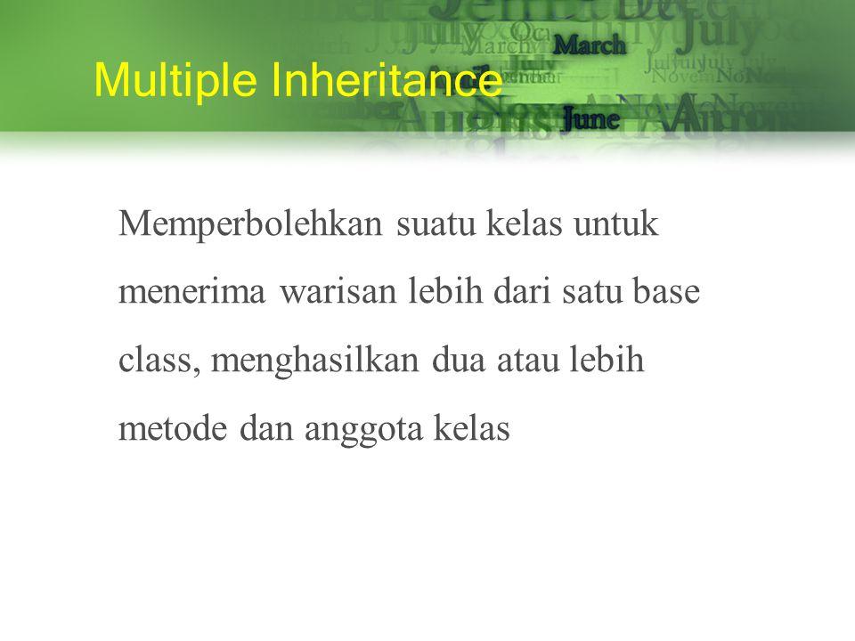Multiple Inheritance Memperbolehkan suatu kelas untuk menerima warisan lebih dari satu base class, menghasilkan dua atau lebih metode dan anggota kelas