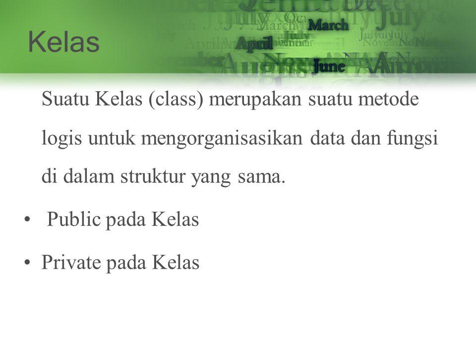 Kelas Suatu Kelas (class) merupakan suatu metode logis untuk mengorganisasikan data dan fungsi di dalam struktur yang sama.