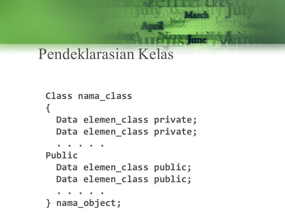 Enkapsulasi Enkapsulasi merupakan proses dasar pembentukan objek, suatu obek yang disembunyikan disebut deangan tipe data abstrak, tanpa enkapulasi maka akan melibatkan penggunaan satu atau lebih kelas.