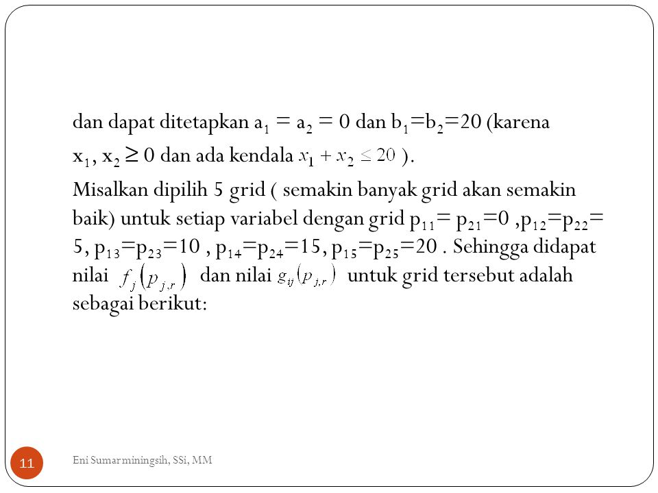 11 dan dapat ditetapkan a 1 = a 2 = 0 dan b 1 =b 2 =20 (karena x 1, x 2 ≥ 0 dan ada kendala ). Misalkan dipilih 5 grid ( semakin banyak grid akan sema