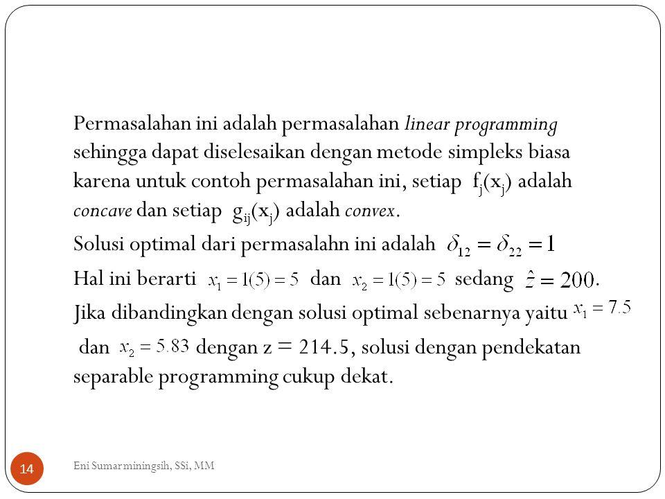 14 Permasalahan ini adalah permasalahan linear programming sehingga dapat diselesaikan dengan metode simpleks biasa karena untuk contoh permasalahan i
