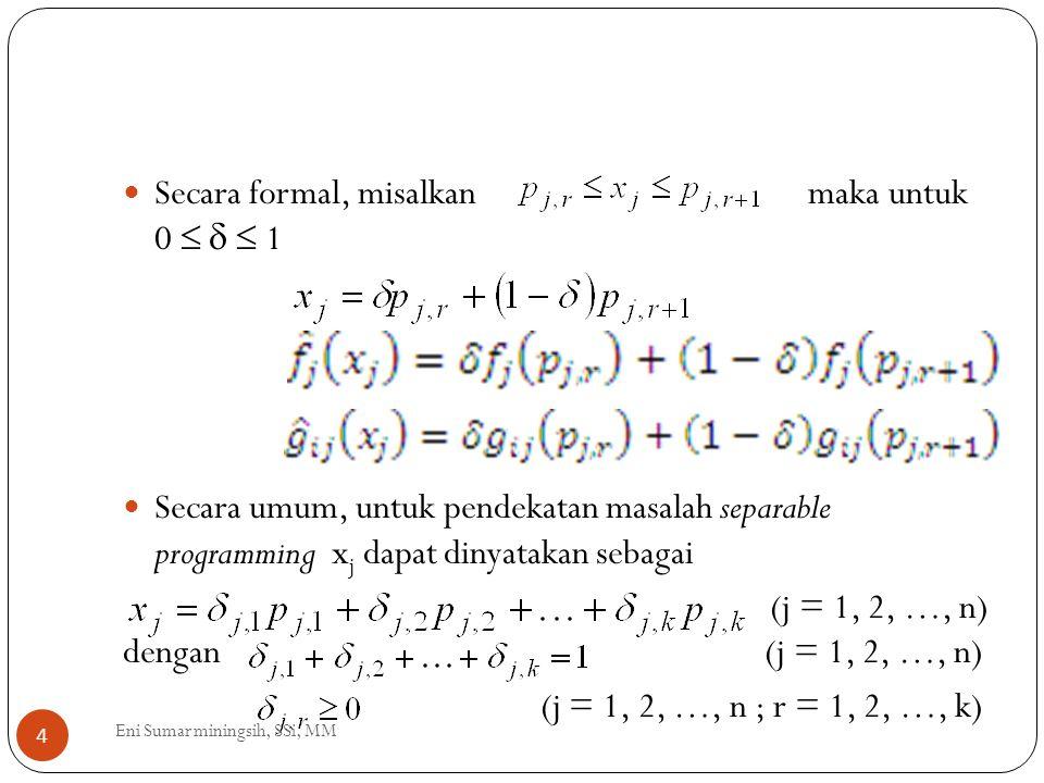 Secara formal, misalkan maka untuk 0    1 Secara umum, untuk pendekatan masalah separable programming x j dapat dinyatakan sebagai (j = 1, 2, …, n)