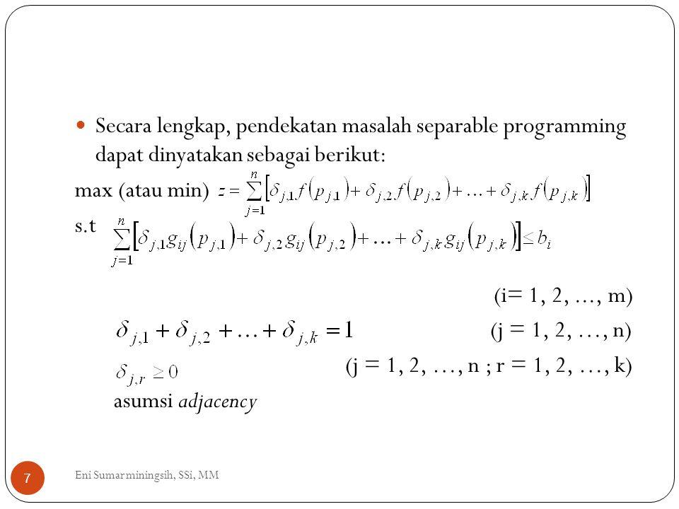 Secara lengkap, pendekatan masalah separable programming dapat dinyatakan sebagai berikut: max (atau min) s.t (i= 1, 2,..., m) (j = 1, 2, …, n) (j = 1
