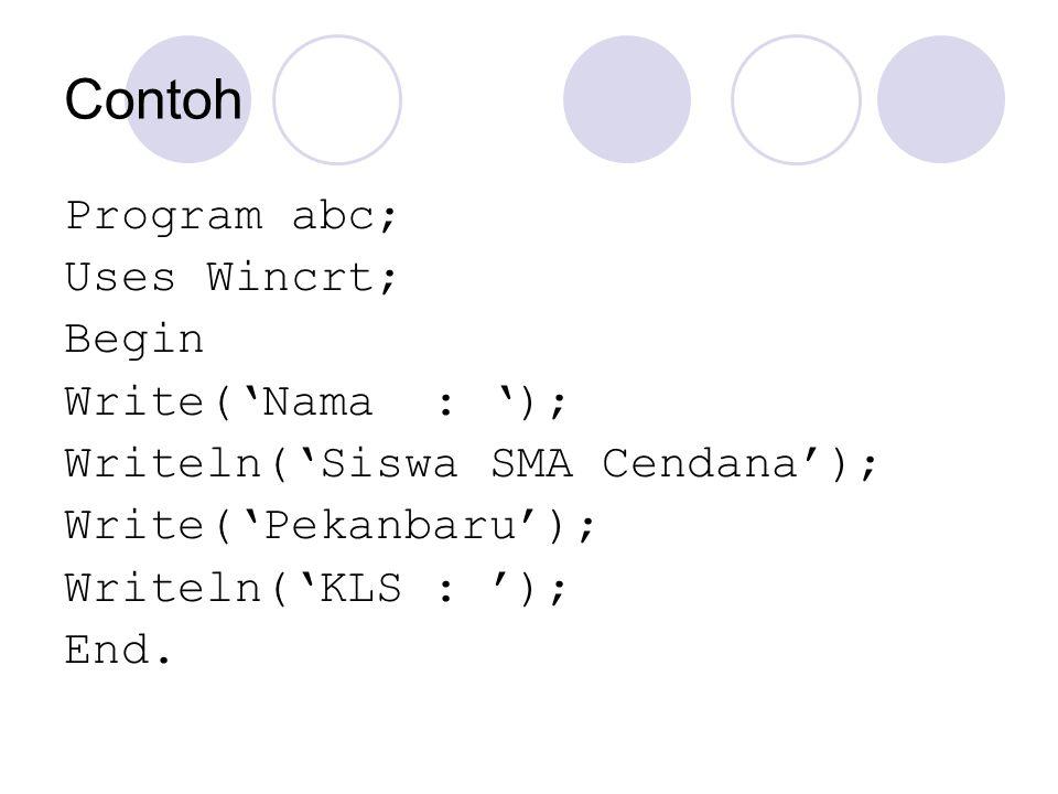 Contoh Program abc; Uses Wincrt; Begin Write('Nama : '); Writeln('Siswa SMA Cendana'); Write('Pekanbaru'); Writeln('KLS : '); End.