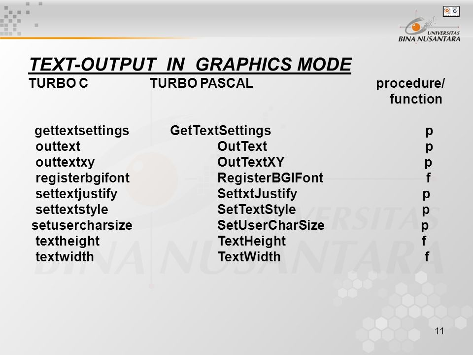 11 TEXT-OUTPUT IN GRAPHICS MODE TURBO C TURBO PASCAL procedure/ function gettextsettings GetTextSettings p outtext OutText p outtextxy OutTextXY p reg