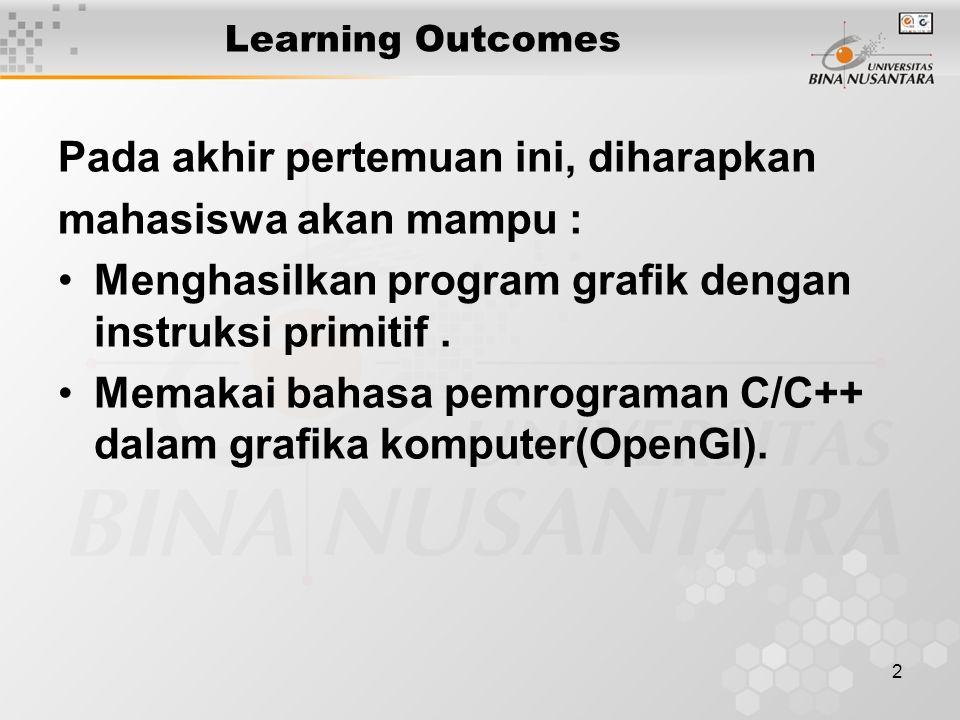 2 Learning Outcomes Pada akhir pertemuan ini, diharapkan mahasiswa akan mampu : Menghasilkan program grafik dengan instruksi primitif. Memakai bahasa