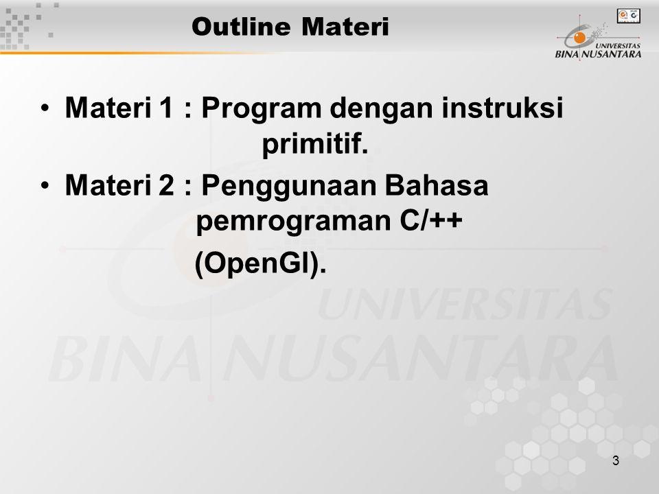 3 Outline Materi Materi 1 : Program dengan instruksi primitif. Materi 2 : Penggunaan Bahasa pemrograman C/++ (OpenGl).