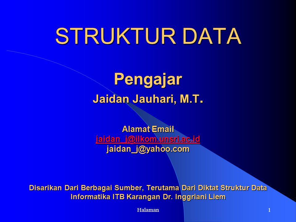 Halaman1 STRUKTUR DATA Pengajar Jaidan Jauhari, M.T.