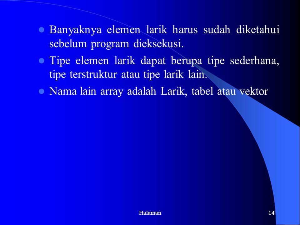 Halaman14 Banyaknya elemen larik harus sudah diketahui sebelum program dieksekusi.