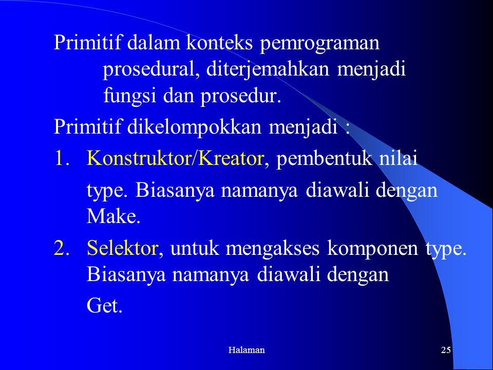 Halaman25 Primitif dalam konteks pemrograman prosedural, diterjemahkan menjadi fungsi dan prosedur.