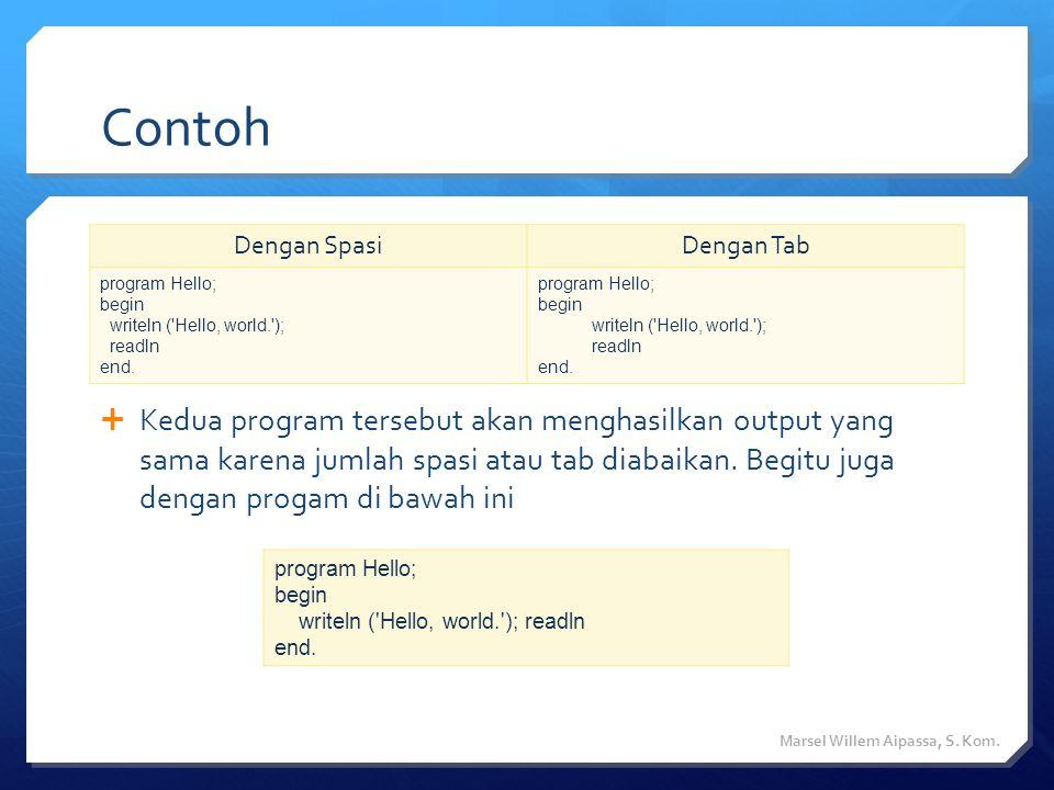 Contoh  Kedua program tersebut akan menghasilkan output yang sama karena jumlah spasi atau tab diabaikan.