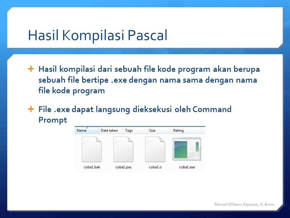 Latihan  Buatlah sebuah program yang memiliki output seperti ini Marsel Willem Aipassa, S.