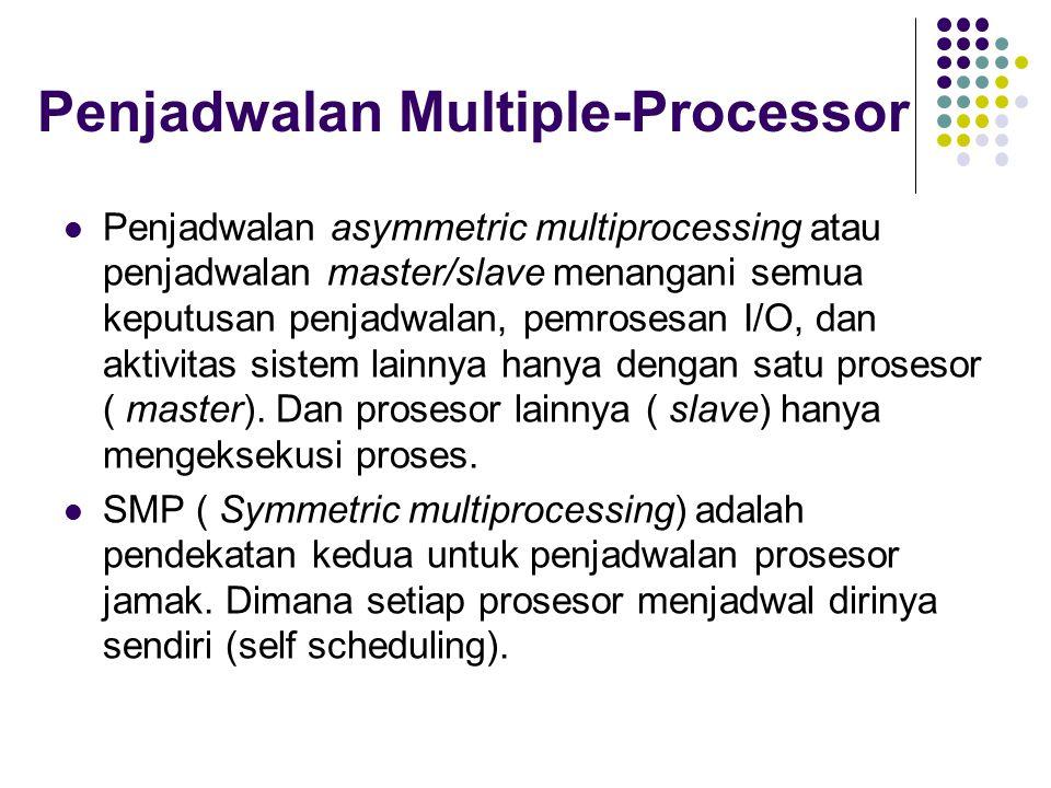 Penjadwalan Multiple-Processor Penjadwalan asymmetric multiprocessing atau penjadwalan master/slave menangani semua keputusan penjadwalan, pemrosesan I/O, dan aktivitas sistem lainnya hanya dengan satu prosesor ( master).