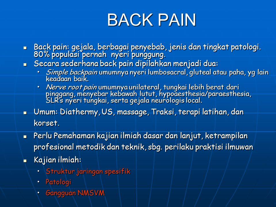 PERTANYAAN STUDI (lanjutan) Uraikan dan praktekkan palpasi pd: jaringan spesifik Thoracal spine dan Lumbar spine. Uraikan dan praktekkan palpasi pd: j