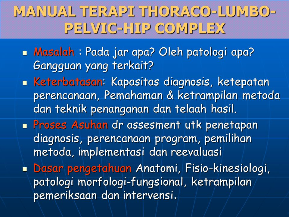 LUMBAR FACETS Arahkan grk interverteral: Dlm bd sagital: Grk utama fleksi-ekstensi Arahkan grk interverteral: Dlm bd sagital: Grk utama fleksi-ekstensi Pd sistem kapsul tdpt meniscoid Pd sistem kapsul tdpt meniscoid Transisi Th12 facet inferior sagital, superior frontal Transisi Th12 facet inferior sagital, superior frontal L5-S1 43% deviasi L5-S1 43% deviasi Iritasi oleh ekstensi Iritasi oleh ekstensi Fraktur proc artic  lysis  lysthesis Fraktur proc artic  lysis  lysthesis