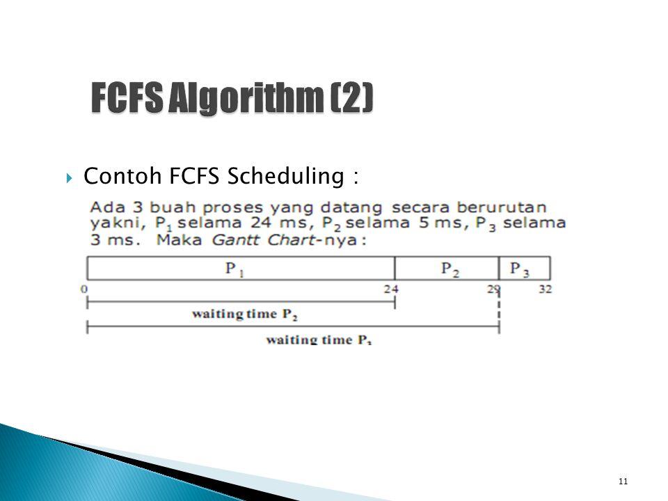  Contoh FCFS Scheduling : 11
