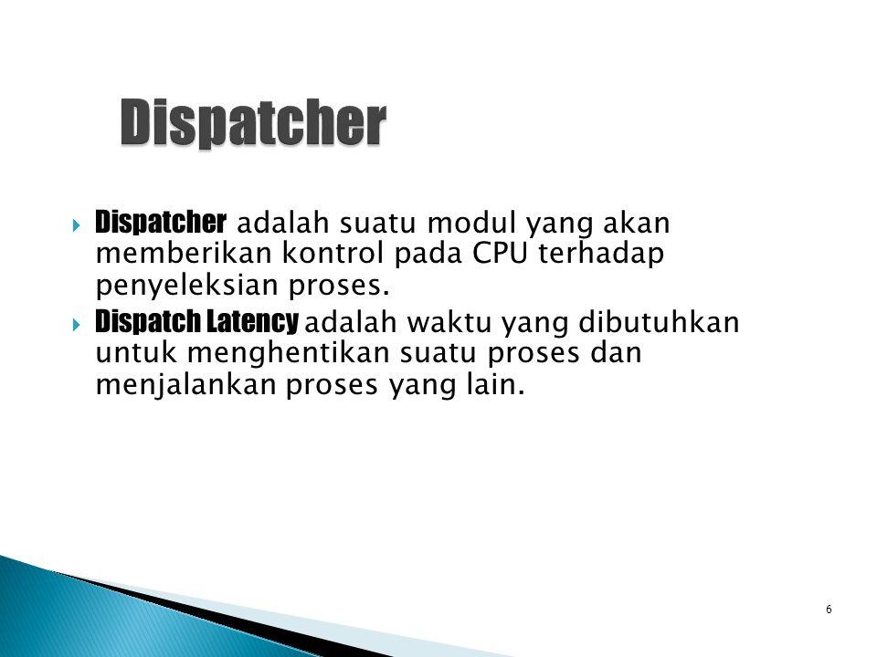  Dispatcher adalah suatu modul yang akan memberikan kontrol pada CPU terhadap penyeleksian proses.