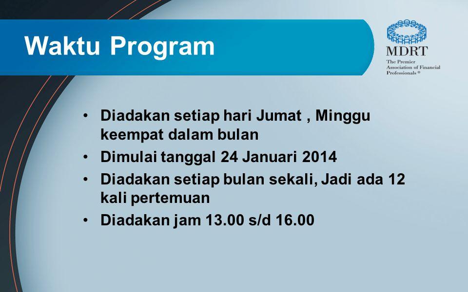 Waktu Program Diadakan setiap hari Jumat, Minggu keempat dalam bulan Dimulai tanggal 24 Januari 2014 Diadakan setiap bulan sekali, Jadi ada 12 kali pe